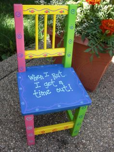 Hand painted Time Out Chair.I'm gonna need one of these pretty soon Diy Kids Furniture, Paint Furniture, Colorful Chairs, Cool Chairs, Diy For Kids, Gifts For Kids, Painted Kids Chairs, Chair Painting, Time Out Chair