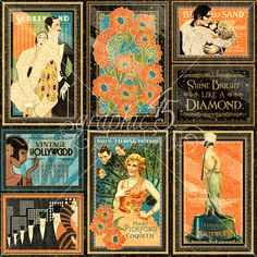 Vintage Hollywood vertical Journaling & Ephemera Cards (these will come pre-cut!)