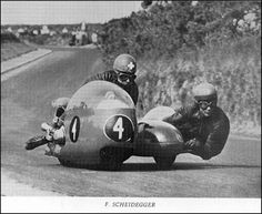 Fritz Scheidegger and John Robinson, passenger Scooters, Road Racing, Racing Bike, Old Bikes, Racing Motorcycles, Super Bikes, Motorbikes, Race Cars, Vehicles
