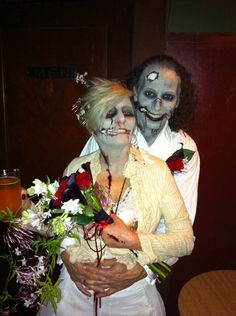 zombie themed wedding. I wonder what the party favors were.