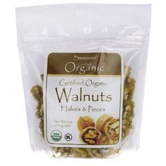 Swanson Certified Organic Walnuts, Halves & Pieces 6 oz g) Pkg Great Lakes Gelatin, Eating Organic, Essential Fatty Acids, Nutritional Supplements, Calorie Diet, Saturated Fat, Organic Recipes, Health, Gold Coast