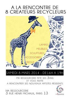 Le 8 mars de 16 à 19h, rendez-vous à Ma ressourcerie dans le 13ème à la rencontre de 8 artistes recycleurs.