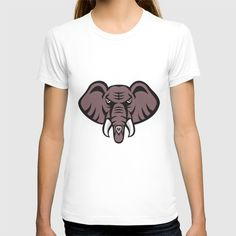 African Elephant Head Angry Tusk Retro T-shirt Illustration of an african elephant head angry with tusk facing front set on isolated white background done in retro style. #illustration #AfricanElephantHead