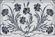 Curtain with carnations - Chart for filet crochet.