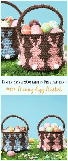 Crochet Bunny Egg Basket Free Pattern - #Crochet Easter #Basket & Containers Free Patterns
