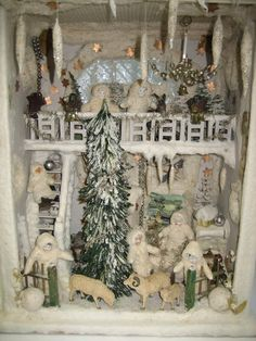 Antique beautiful German winter wonderland large Christmas Snow House