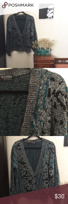 """Vintage Scandia Cardigan -Excellent vintage condition, very minor loose threads -100% acrylic -machine wash warm -please use measurements for best fit, all measurements are taken laying flat -size:large (unisex) -bust: 24"""" -length: 25"""" -black, white and blue (colors' appearance may vary on screen)   Questions? Just ask! Bundle to save! Offers welcome Happy Poshing! Scandia Sweaters Cardigans"""