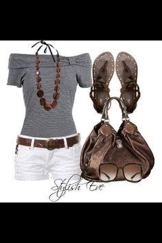 bag shoes blouse shorts jewels belt stylish eve
