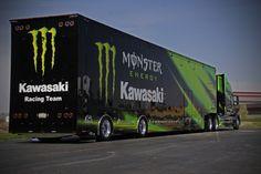 pinterest photos of semi trucks with kawasaki logo | Photograph Monster Energy Kawasaki Rig by Aaron Bievenue on 500px
