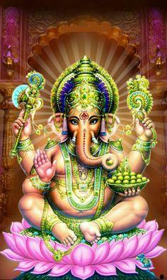 Lord Ganapathi and Goddess Lakshmi to acquire purity, flourish earnings and prosper wealth. Ganesh Pic, Jai Ganesh, Ganesh Lord, Shree Ganesh, Ganesha Art, Jai Hanuman, Ganesha Tattoo Lotus, Lotus Tattoo, Tattoo Ink