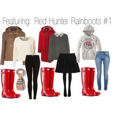 Outfits with red Hunter Rainboots