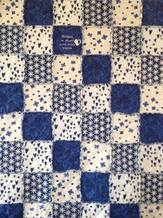 Homemade Quilt, Rag Quilt, Throw, Patchwork Quilt, Embroidered Blanket, Quilts Handmade, Home is Where, Rag Quilt For Sale, Blue White Quilt by RagQuiltsnPillowsUSA on Etsy