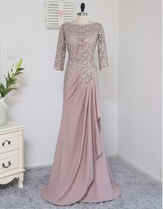 Plus Size Brown Mother Of The Bride Dresses A-line Sleeves Chiffon Lace Wedding Party Dress Mother Dresses For Wedding Dress Brukat, Hijab Dress Party, Hijab Gown, Dress Outfits, Fashion Dresses, Dress Tops, Turban Hijab, Kebaya Modern Dress, Kebaya Dress