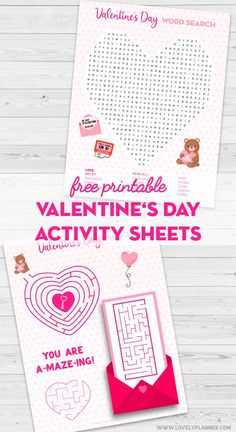 Free Printable Valentine's Day Activity Sheets: Word Search & Maze – Lovely Planner Free Printable Valentine's Day Kid Activity Sheets: Word Search Puzzle and Mazes. Valentine's Day Word Search Activity Sheet and Valentine's Day Maze Activity Sheet. Valentines Day Words, Kinder Valentines, Valentines Day Background, Valentines Day Activities, Valentines Day Decorations, Valentines Day Party, Valentine Day Crafts, Printable Valentine, Mazes For Kids Printable