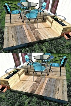 Some people don't like to step on grass or sit by placing feet on it, so here we are showing an idea to create a little garden deck out of pallets on which the furniture can be placed to enjoy in the lawn of the home.