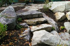 Natural stone switchback steps to lake front