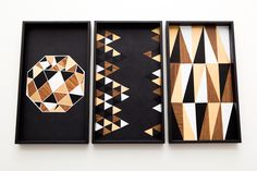 Use contact paper to DIY these geometric patterned trays.