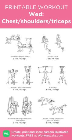 Lose fat fast - Wed: Chest/shoulders/triceps: my custom printable workout by - Do this simple 2 minute ritual to lose 1 pound of belly fat every 72 hours Chest Workouts, At Home Workouts, Weight Workouts, Gym Workouts For Women, Gym Routine Women, Bicep Workout Women, Work Out Routines Gym, Leg Workouts, Workout Routines