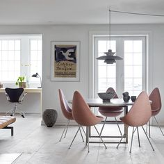 Drop Chair, Series 7 Chair and PK80 Chaise from Fritz Hansen alongside PH pendant from Louis Poulsen.