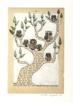 Altered book page ~ such a fun way to do a family tree! ~ by Annette Mangseth
