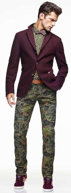 Sean O'Pry for Simons Le 31 Urban, AW13. I scratch my head on this one... but I just can't stop looking at this style... Just draws me in! Patterns, purples and green oh my!