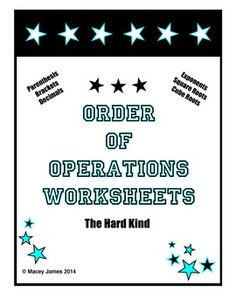 Order of Operations: Students love the challenge of order of operation problems. All of these order of operations problems consist of the hard kind! These order of operation worksheets are high level and were designed for the middle school student. Students must evaluate order of operation problems that contain decimals, fractions, exponents, and square roots.