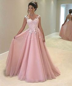 Ball Gown Pink Tulle with White Lace Appliqued Prom Dresses,APD1891