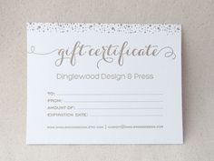 Letterpress Gift Certificate with envelope