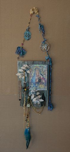"""Our Lady of Sorrows-"""" La Milagrosa"""" Old barn wood wall Shrine- By: Cuban Artist- Lazaro Iglesias Inquire for price...SOLD"""