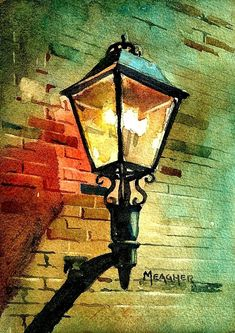 Day 15 – Trailshead Gaslight by Spencer Meagher Watercolor ~ - Art Painting Art Watercolor, Watercolor Landscape, Watercolor Techniques, Painting Techniques, Light Painting, Painting & Drawing, Gouache Painting, Watercolor Architecture, Beginner Painting