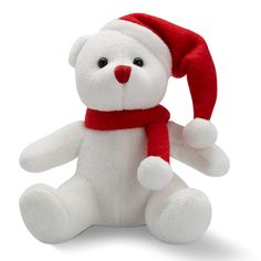 Image of Promotional Christmas Bear; Cute plush white bear with red hat and scarf Cute Plush, Christmas Toys, Red Hats, Smurfs, Dinosaur Stuffed Animal, Teddy Bear, Seasons, Beer, Diy