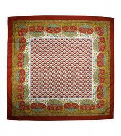 Foulard Coton «Le Tarasconnais» rouille 80x80 cm