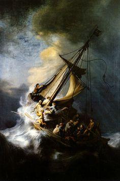 ᐅ Die 99 Besten Bilder von Alte Kunst The Storm on the Sea of Galilee Rembrandt van Rijn 1633 Amédéo Modigliani, Rembrandt Paintings, Rembrandt Art, Grant Wood, Sea Of Galilee, Most Famous Paintings, Popular Paintings, Famous Artists, Art History