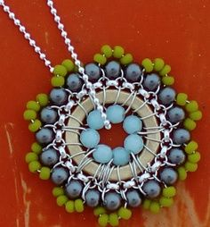 Pendant Necklace Beadwork Jewelry in Aqua Blue and Lime Green