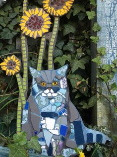 Cat Mosaic Garden Art Pet Portrait Pet Memorial | Etsy Fish Wall Art, Fish Art, Mosaic Garden Art, Mosaic Art, Mosaic Animals, Sunflower Garden, Cat Signs, Mosaic Madness, Cat Garden