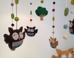 felt baby owls mobile, nursery mobile, baby mobile