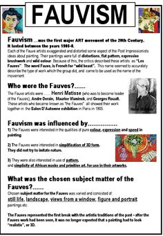 Fauvism is characterized by the use of color, hence the importance of research . - Fauvism is characterized by the use of color, hence the importance of investigating this pictorial - Art History Lessons, Art Lessons, Art History Timeline, History Memes, Middle School Art, Art School, Fauvism Art, Maurice De Vlaminck, Art Doodle