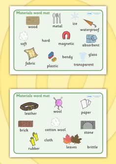 Twinkl Resources >> Materials Word Mat   >> Thousands of printable primary teaching resources for EYFS, KS1, KS2 and beyond! materials, science, word mat, mat, writing aid, investigation, material properties, shiny, dull, rough, smooth, bumpy, wood, plastic, glass, stone, transparent,