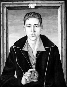 Fred Ross - Portrait of Man with Medallion, 1955 art Canadian Art, Figure Drawing, Figurative Art, Poetry, Portrait, Artist, Artwork, Model, Painting