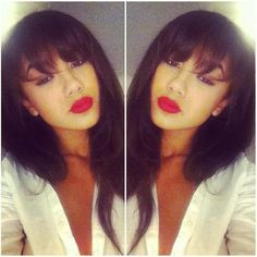 I love the bangs! The color... Well it's my natural color, we have a love hate… Weave Hairstyles, Straight Hairstyles, Cool Hairstyles, Love Hair, Gorgeous Hair, Curly Hair Styles, Natural Hair Styles, Hair Laid, Up Girl