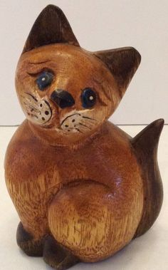 Wood Carved Cat Kitten Wooden Kitty Collectible Figurine