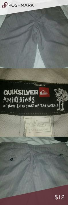 Quiksilver amphibians shorts Gray Quiksilver amphibians style shorts. Can be worn in or out of the water. Waist size 30. Excellent condition. I guarantee all my items. Quiksilver Shorts