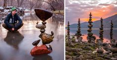 We're having a hard time deciding whether Michael Grab is an artist or a magician, because he creates stunning structure from finely balanced rocks that seem to defy the law of physics.