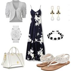 White and Black Summer Dress Outfit