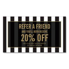 Black and White Stripes Salon Referral Card Double-Sided Standard Business Cards (Pack Of 100)
