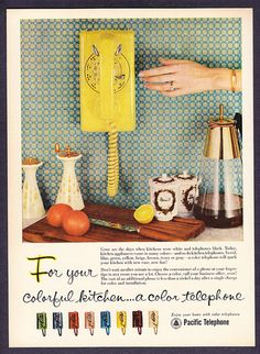 1957 Kitchen Color Wall Telephones...I'll take a green on please