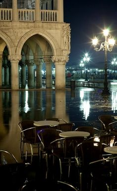and this is how I first saw San Marco Square. On a rainy night with the orchestras playing & dancing with my husband in the rain....San Marco, Venice, Italy | Flickr - Photo by _ Nemo _