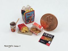 Dollhouse Miniatures Food 1:12 Scale Handmade McNuggets Fries Combo