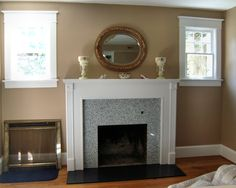 Granite Transformations fireplace remodel. Our granite is light enough to put on your fireplace!