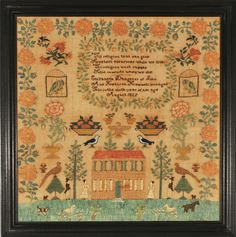 """Morven Museum & Garden Announces its Fall 2014 Exhibition: """"Hail Specimen of Female Art! New Jersey Schoolgirl Needlework 1726-1860"""" ~ one of the featured samplers was stitched by Elizabeth Hammill in 1829 and is in the private collection of Daniel C. Scheid."""